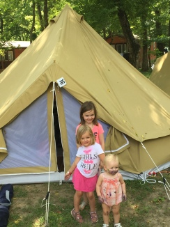 """Outside our """"glamping""""tent"""
