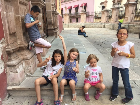 Enjoying ice cream.